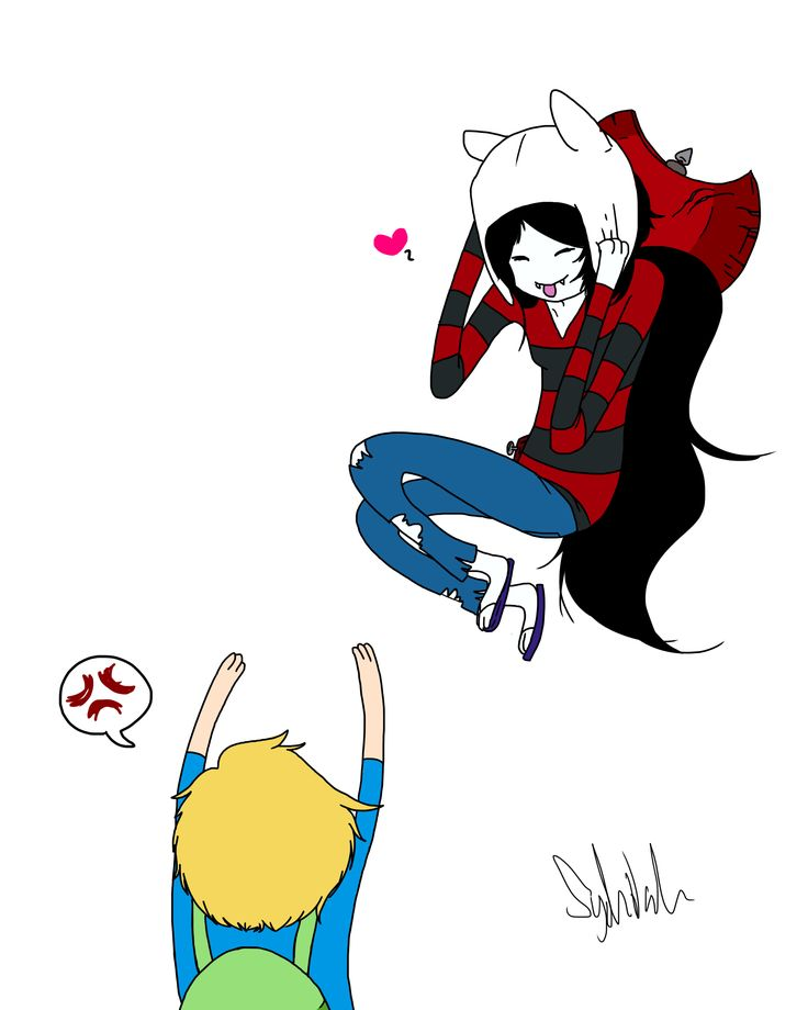 For the record, I don't ship Finn and Marceline, I just thought this drawing was cute. I think Finn and Flame Princess are perfect for each other <3
