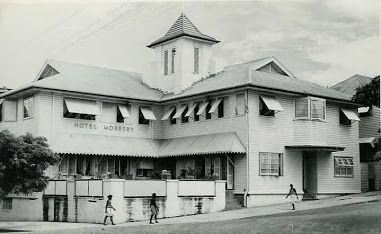 Hotel Moresby circa 1940 owned by Burns, Philp & Co. in Port Moresby, Papua New Guinea.