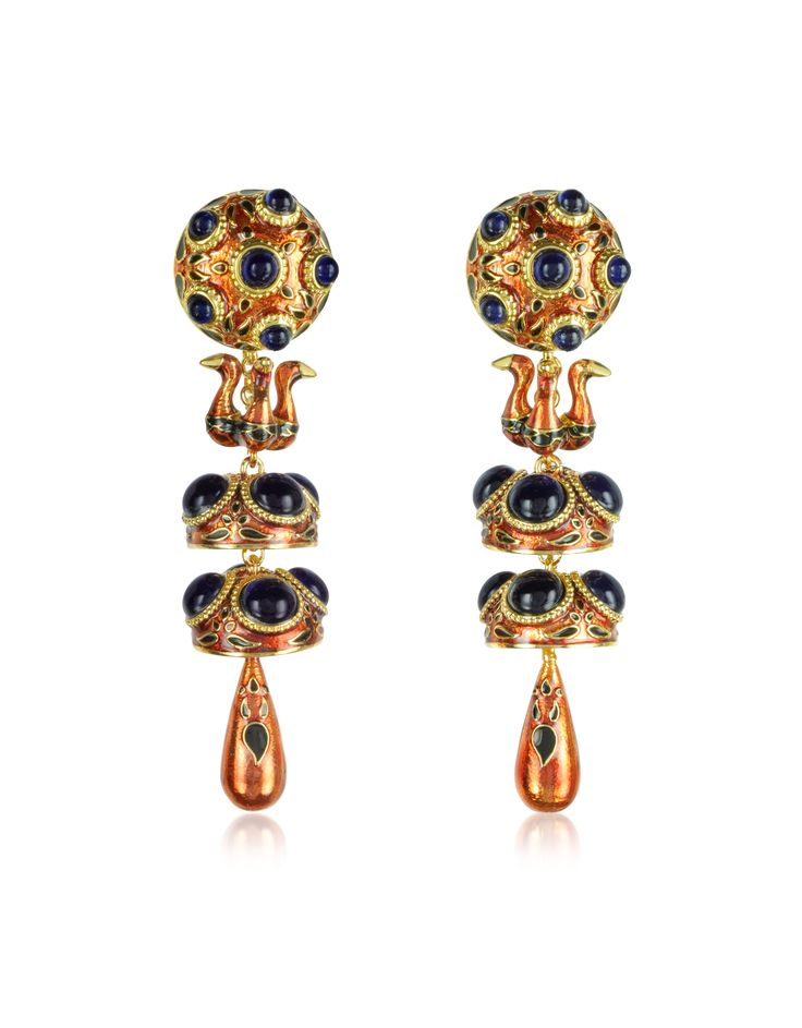DSquared2 Bordeaux Charlotte Brass and Enamel Earrings at FORZIERI