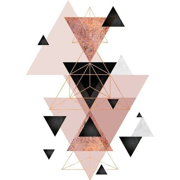Geometric Triangles in blush and rose gold ❤ liked on Polyvore featuring home, home decor and wall art