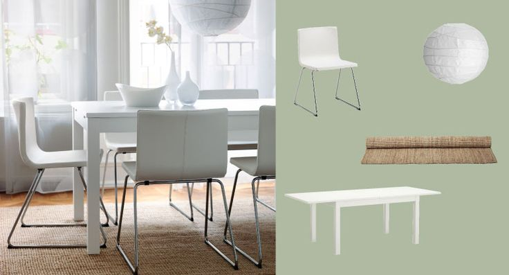 I like the rug and the paint color and possibly a multitude of those lamp shades. Calming and clean. BJURSTA white extendable table seats 4-8 with BERNHARD white leather chairs with chrome legs