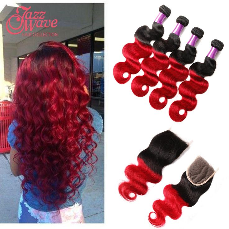 Ombre Brazilian Virgin Hair With Closure Body Wave 3/4 Bundles Red Ombre Brazilian Hair Weave Bundles With Closure 7A Quees VIP
