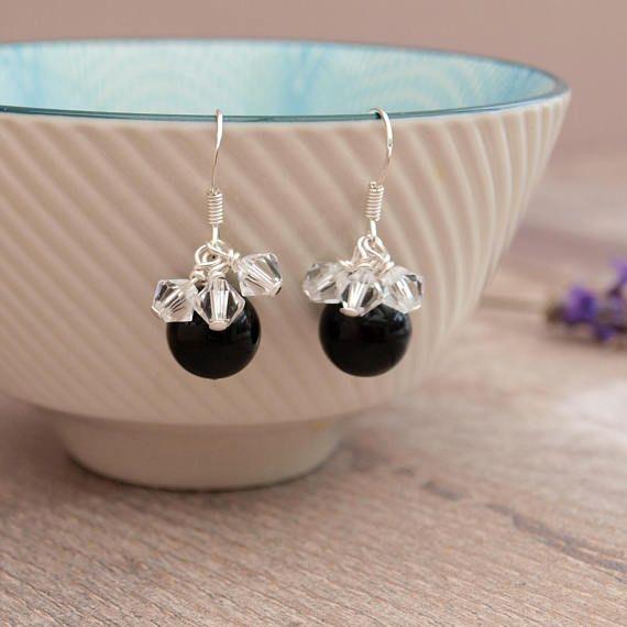 Black Pearl Bridal Earrings  Black Pearl and Crystal Wedding