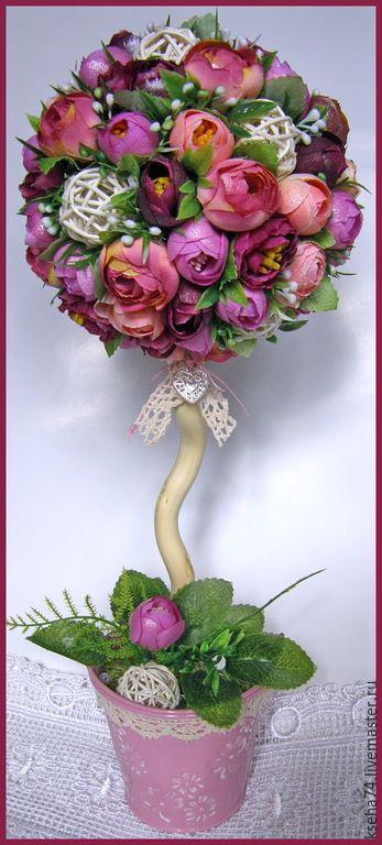 Купить Топиарий-дерево счастья и благополучия - разноцветный, топиарий, топиарий дерево счастья