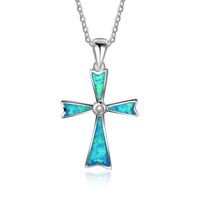 Post Included Aus Wide and to most international countries! >>> Opal Cross Necklace - 925 Sterling Silver