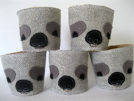 Eco-Friendly Stocking Stuffer, Sloth Coffee Cozy and Tea Cozy by rileyconstruction (on Etsy).