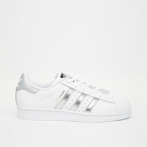 Adidas Originals White & Silver Super Star Sneakers