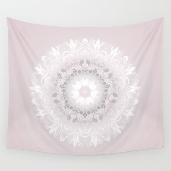 In this mandala I used #blush and #duskypink in a #floral shape. I thought of beautiful #pastel #flowers while creating it.  The soft colours enhance the beauty of the mandala. I wanted to reinvent this sacred symbol for modern living culture. #designtrends #dormtrends #bohochic mandala wall tapestry bedroom