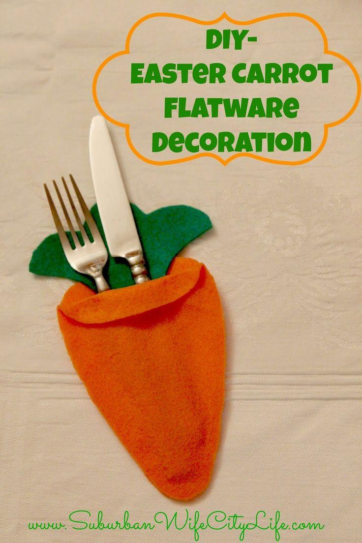 DIY Easter Carrot Flatware Decoration