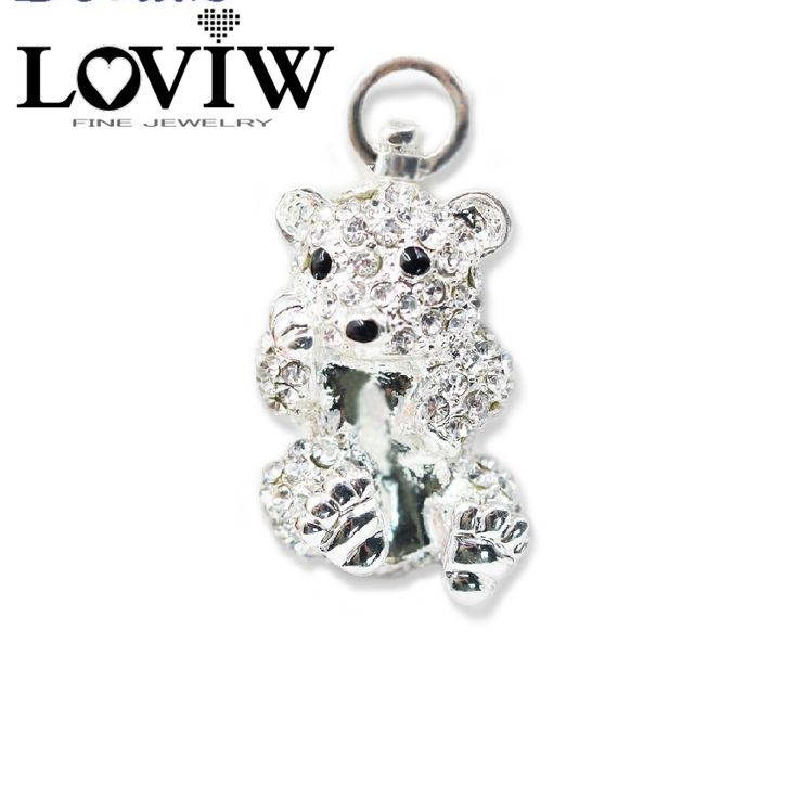 ==> [Free Shipping] Buy Best Polar Bear Baby Necklace Pendant European Style High Quality Full Zirconia Silver Jewelry For Women DIY Gift Bijoux Online with LOWEST Price   32768002386