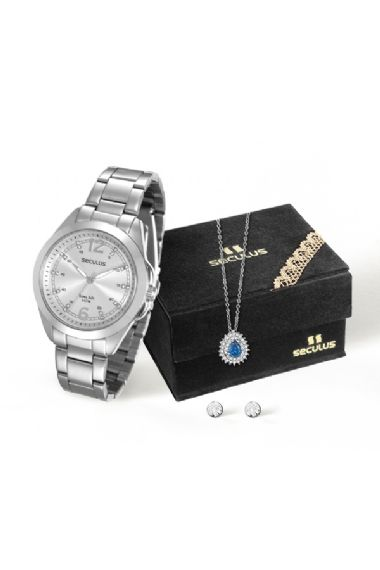 28737L0SVNA2K1 Relógio Feminino Prateado Seculus Analógico com Corrente e Pingente em Zircônia Azul   Guest Club