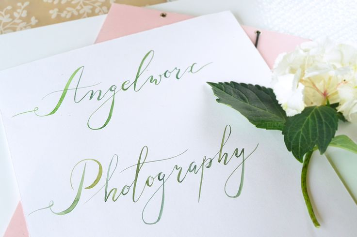 Work in progress. Watercolor calligraphy for Angelworx Photography by Kateryna Savchenko