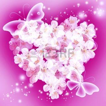 Butterfly star carte avec bouquet de fleurs en forme de coeur et les papillo - Fleurs en forme de coeur ...