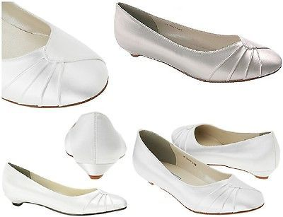 NEW Shirley Bridal Comfortable Low Heel Shoes, Dyeable White Satin 5-12 B, D, EE