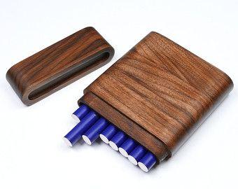 Limitato noce portasigarette Slim per 8 X fuma con coperchio rimovibile, contenitore di sigaretta fatta a mano, in legno Box fornitore