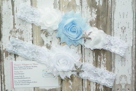 Light Blue Wedding Garter Set Beach Wedding by KennasKlippiesBows, $23.50