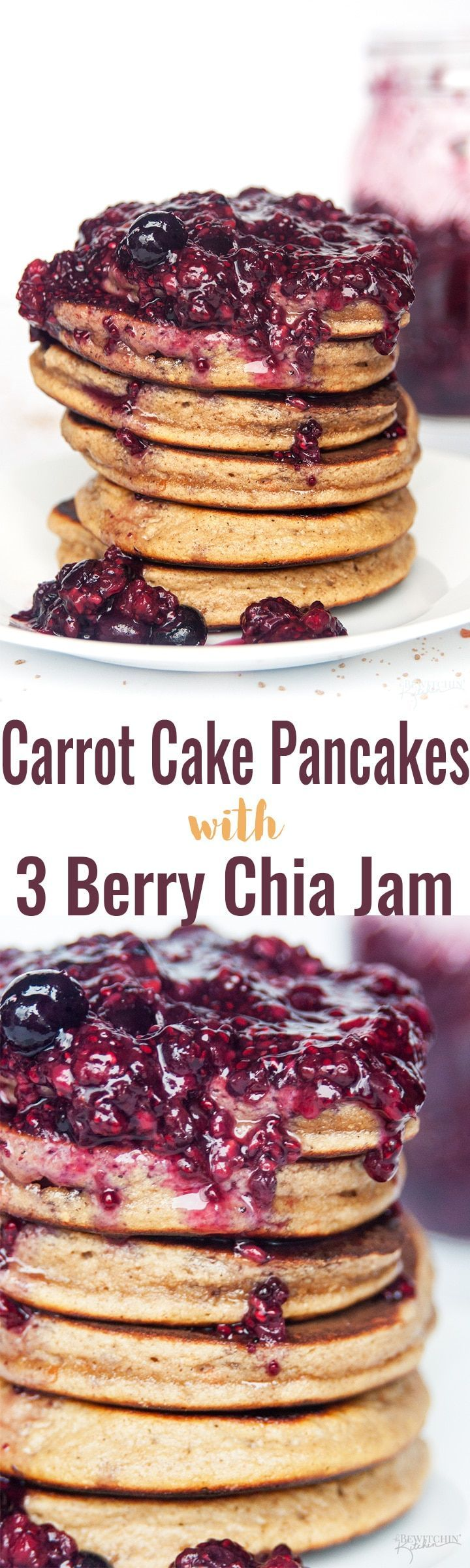 Carrot Cake Pancakes with 3 Berry Chia Jam - this gluten free and grain free pancake recipe is the ultimate breakfast (or brunch). Made with Epicure products, this is a new favorite recipe! #breakfastrecipes #glutenfreepancakes #coconutflourpancakes #chiajam #carrotcake #thebewitchinkitchen