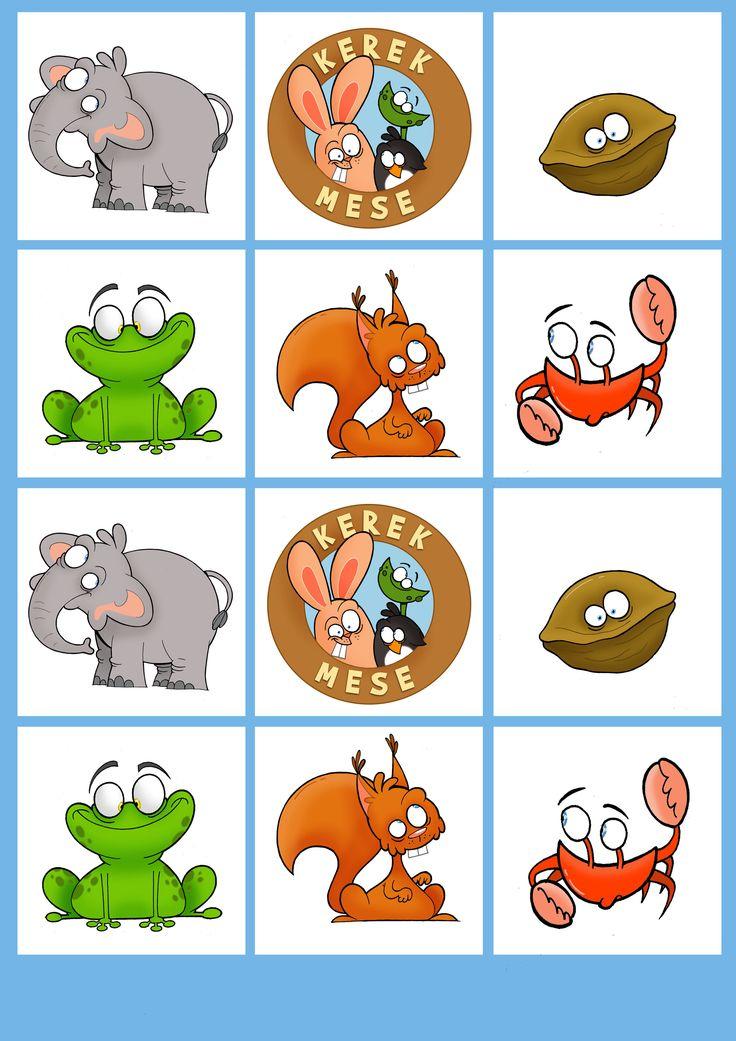 B típus 2. oldal - Kivágható kártyás memória játék állatokkal - kerekmese