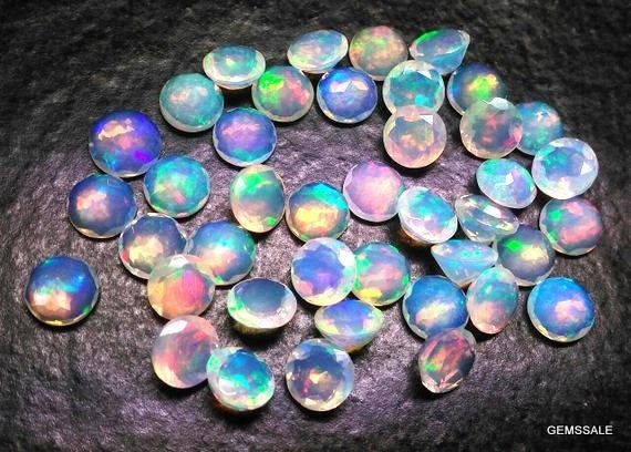 Natural Ethiopian Opal Round Cabs For Jewelry 10 Pieces 4mm Ethiopian Opal Round Cabochon Loose Gemstones 4mm AAA Ethiopian Opal Round
