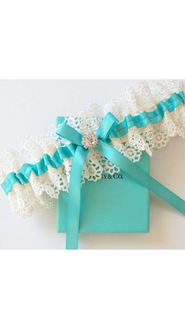 liga de novia en azul tiffany