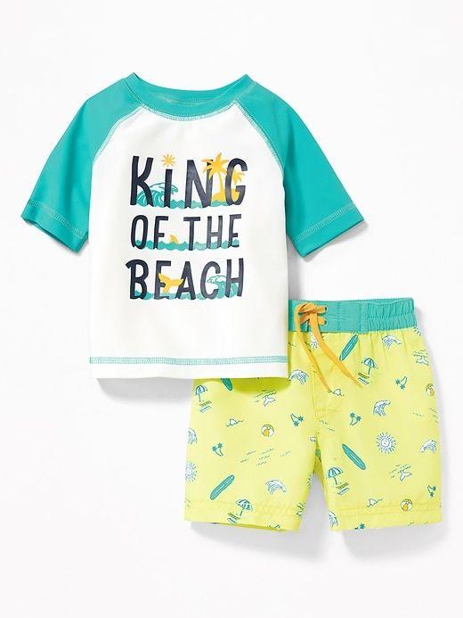 2a2fcf223 Graphic Rashguard & Printed Trunks Set for Baby   Aww   Baby ...