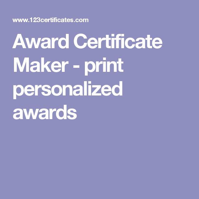 Award Certificate Maker - print personalized awards