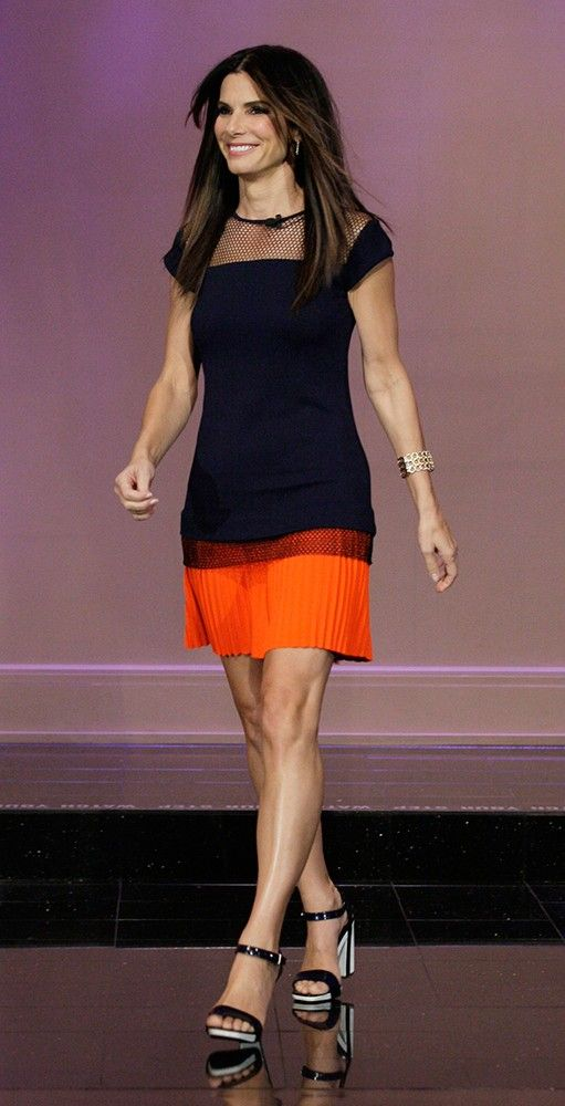 sandra bullock - a true Hollywood classic. We are also loving her color block skirt and top! So elegant and sophisticated.