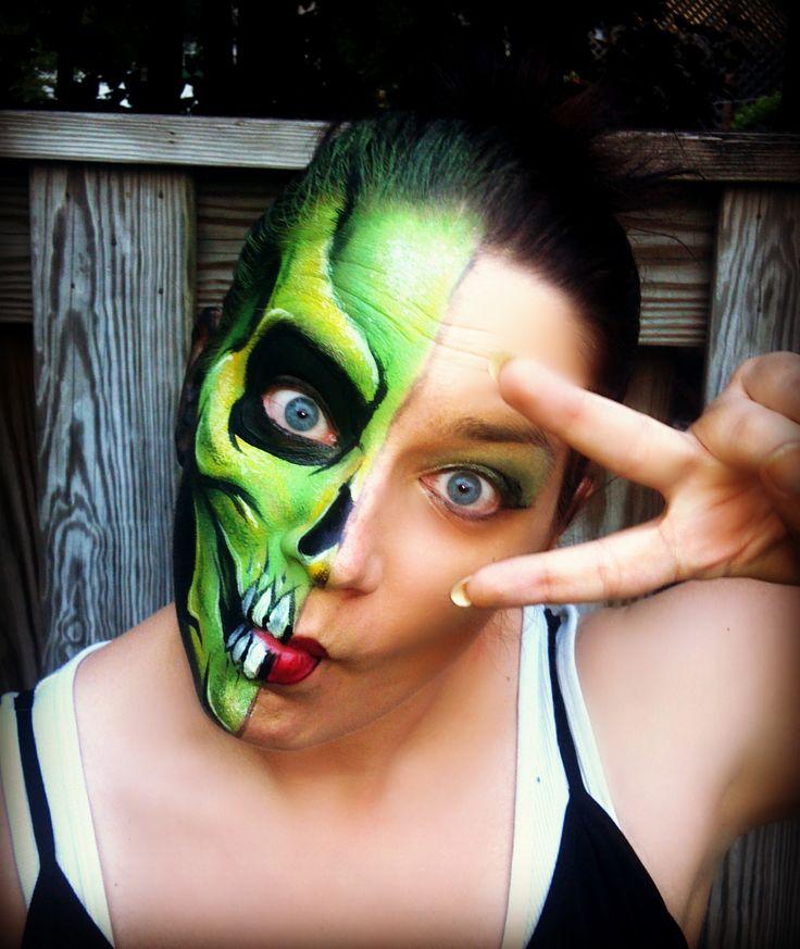 half skull face paint manaartonlinecom - Skull Face Painting Ideas For Halloween