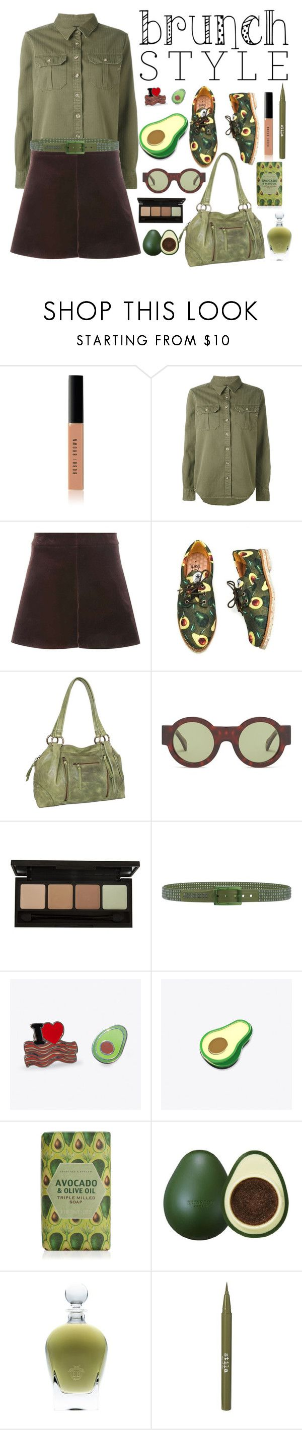 """Avocado"" by lily-mitchell ❤ liked on Polyvore featuring Bobbi Brown Cosmetics, The Seafarer, Dorothy Perkins, Nino Bossi Handbags, Kaleos, Tie-Ups, Punky Pins, Skinfood, EB Florals and Stila"