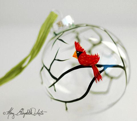 Christmas Cardinal Glass Ornament. Hand Painted by Mary Elizabeth Arts