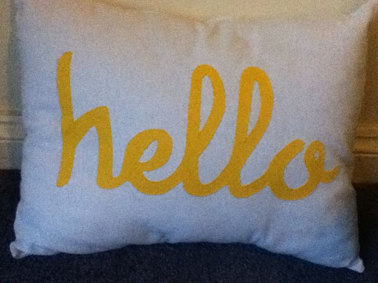 Yellow hello pillow!