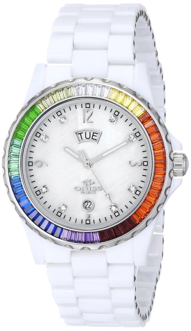 "Watch |  Guide buy Oniss Paris Women'S ON6201-L Wht ""Princess Bello"" Rainbow Collection Ladies All Ceramic S/S Bezel with 60 Colors Baguettes Crystals Day/Date Swiss Parts Movement – White Watch"