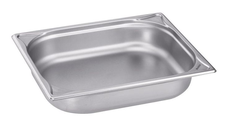 GTARDO.DE:  Edelstahl GN-Behälter 1/2 GN, bis 280°C, BxTxH 325x265x55 mm, 3.2 Ltr., GN 1/2-55 20,00 €