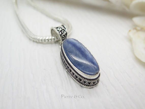 Antique Kyanite Sterling Silver Pendant and Chain