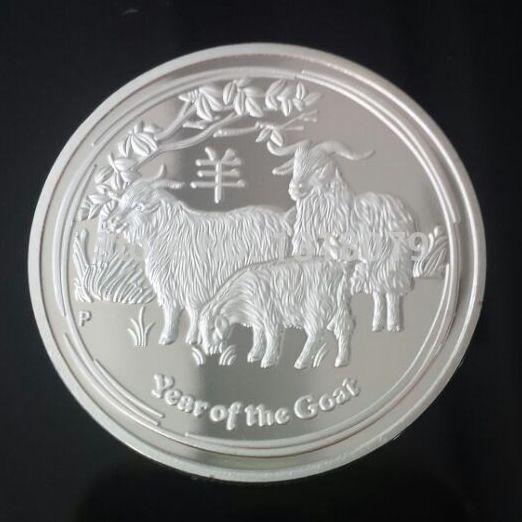 НОВЫЙ! 5 шт./лот 2015 Год Козы 1 унц. посеребренная Китайский зодиак памятные монеты, Бесплатная доставка