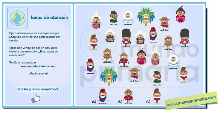 Todos los personajes han traído un acompañante con igual vestimenta ¿Serás capaz de encontrar al que no tiene pareja? #infography #children #education #resources #flowcharts #school #spanish