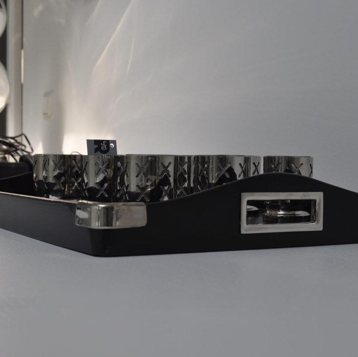 dienblad Peninsula zwart leatherlook met kaarsenhouders Amsterdam voor waxinelichtjes
