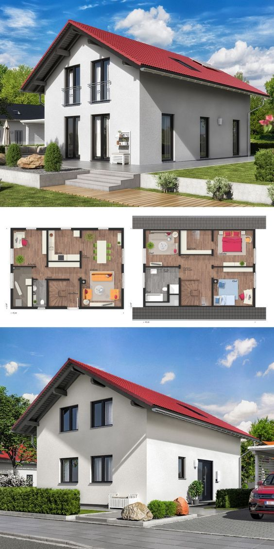 Einfamilienhaus Neubau mit Satteldach Architektur im