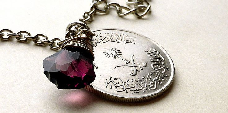 Saudi Arabian, Coin necklace, Swarovski necklace, Amethyst pendant, Arabian jewelry, Palm tree, February Birthstone, Upcycled necklace, Coin by CoinStories on Etsy
