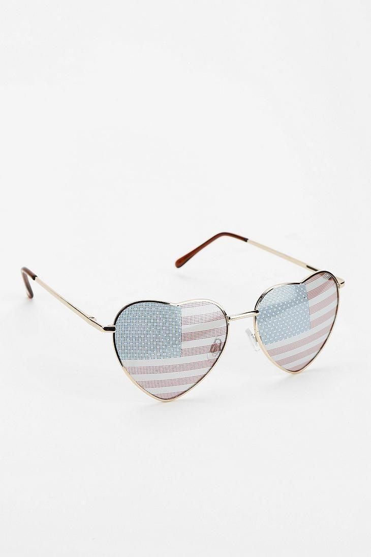 Americana Heart Sunglasses #urbanoutfitters
