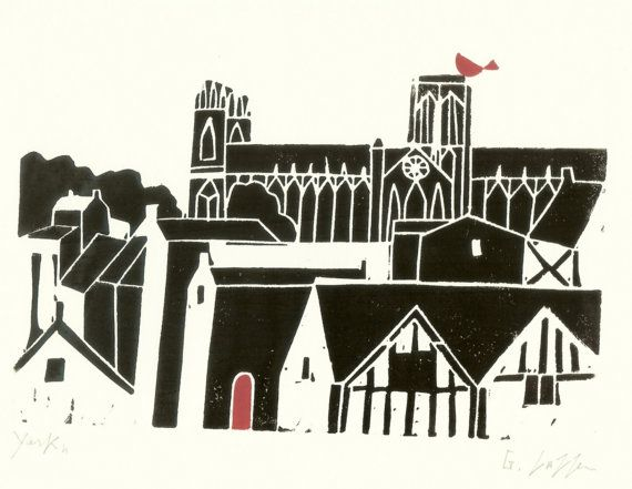 York Minster Gothic Cathedral Print - Original Linocut, Medieval Church, UK , Black and Red, Contemporary Art