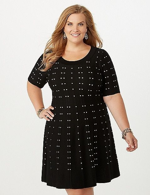 e6b7b6c6f7 Plus Size Spotted Fit-and-Flare Dress
