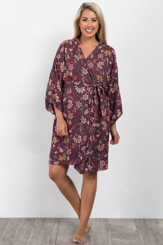 687b66af91b Burgundy Floral Delivery Nursing Maternity Robe