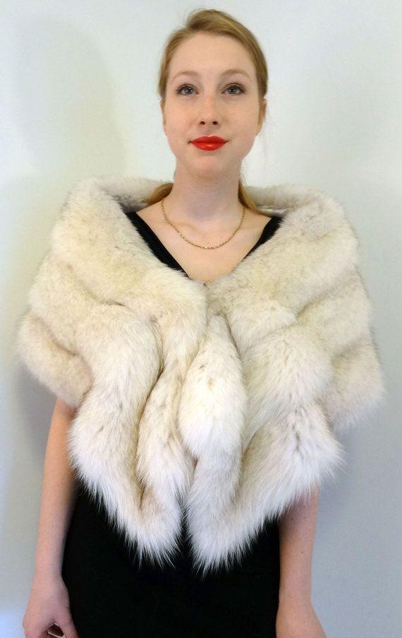 Arctic Fox Fur Wedding Bridal Shawl Stole Wrap by DakinisChoice