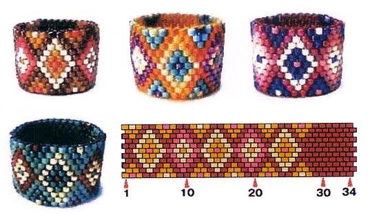 Odd count peyote stitch ring designs.