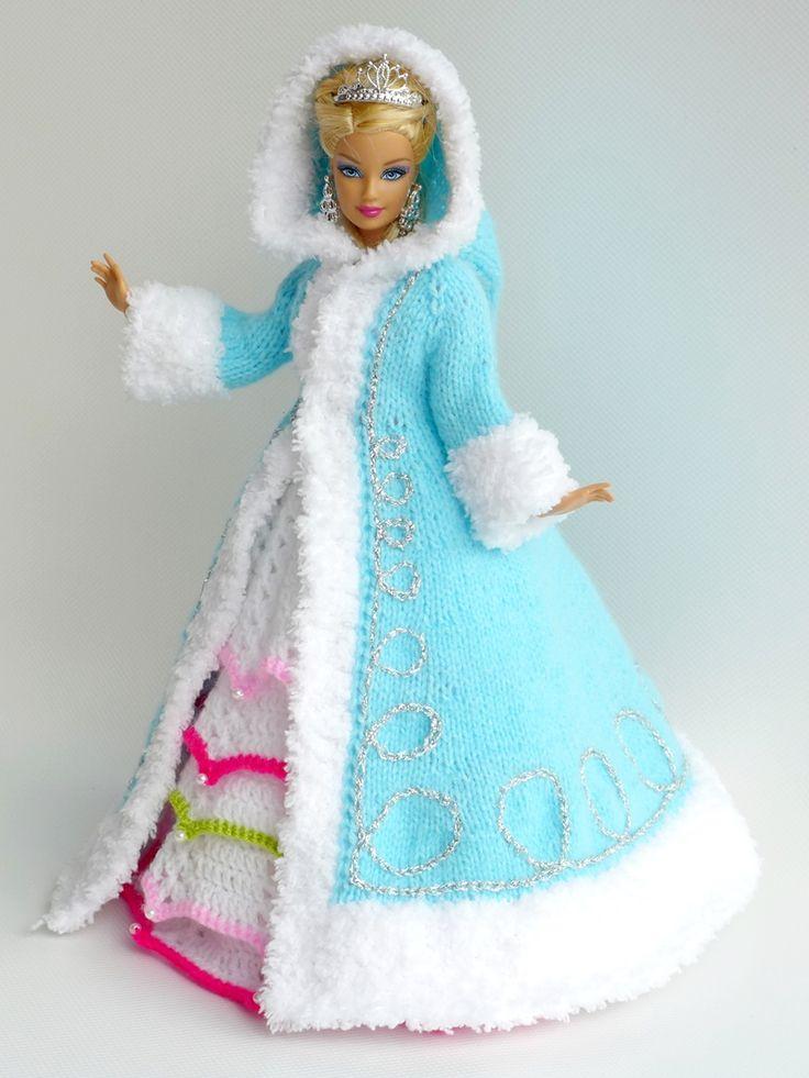 puppenkleidung stricken wintermantel elegant barbie kleider