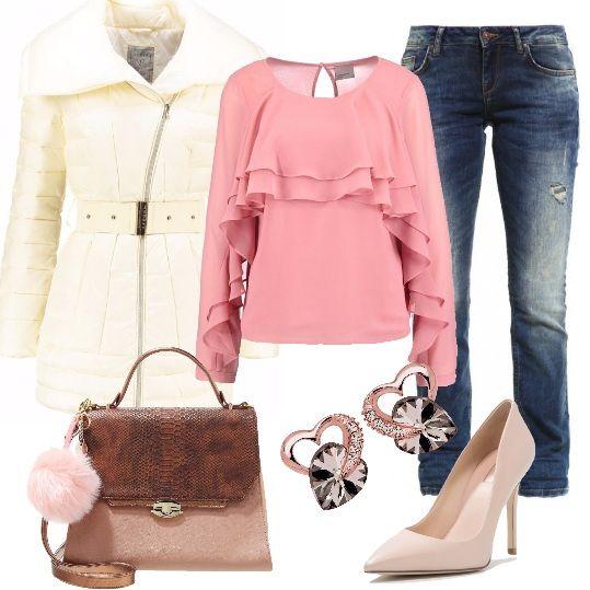 Bellissimo+outfit+per+chi+ama+indossare+il+jeans.+In+questo+caso+ho+scelto+un+modello+a+sigaretta+con+strappi+e+l'ho+abbinato+a+splendida+camicetta+dusty+rose+con+rouches+e+a+piumino+blanc+di+Guess.+Gli+accessori+hanno+toni+delicati+con+borsa+macciato+con+pon+pon+decorativo,+décolleté+cream+sempre+di+Guess+e+deliziosi+orecchini+a+forma+di+cuore+in+argento+sterling,+placcati+in+oro+con+cristalli+Swarovski.+Sarete+perfette+sia+al+lavoro+che+al+momento+dell'aperitivo+con+le+amiche.
