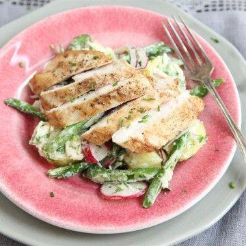 Grillad kycklingfilé med västerbottensslungad potatissallad - Recept - Tasteline.com