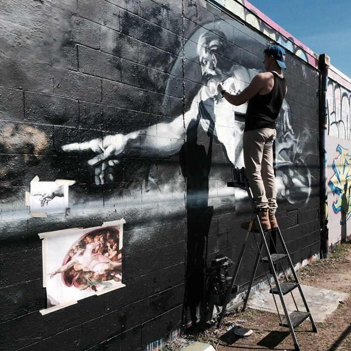 Working on a large mural dedicated to Michelangelo and divine creativity.  #bumbinghappens #graffiti #streetart #art #spraycan #michelangelo #sistinechapel
