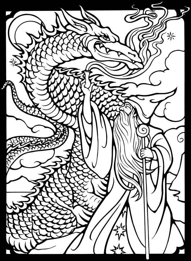dover publications free sample coloring page wizards dragons